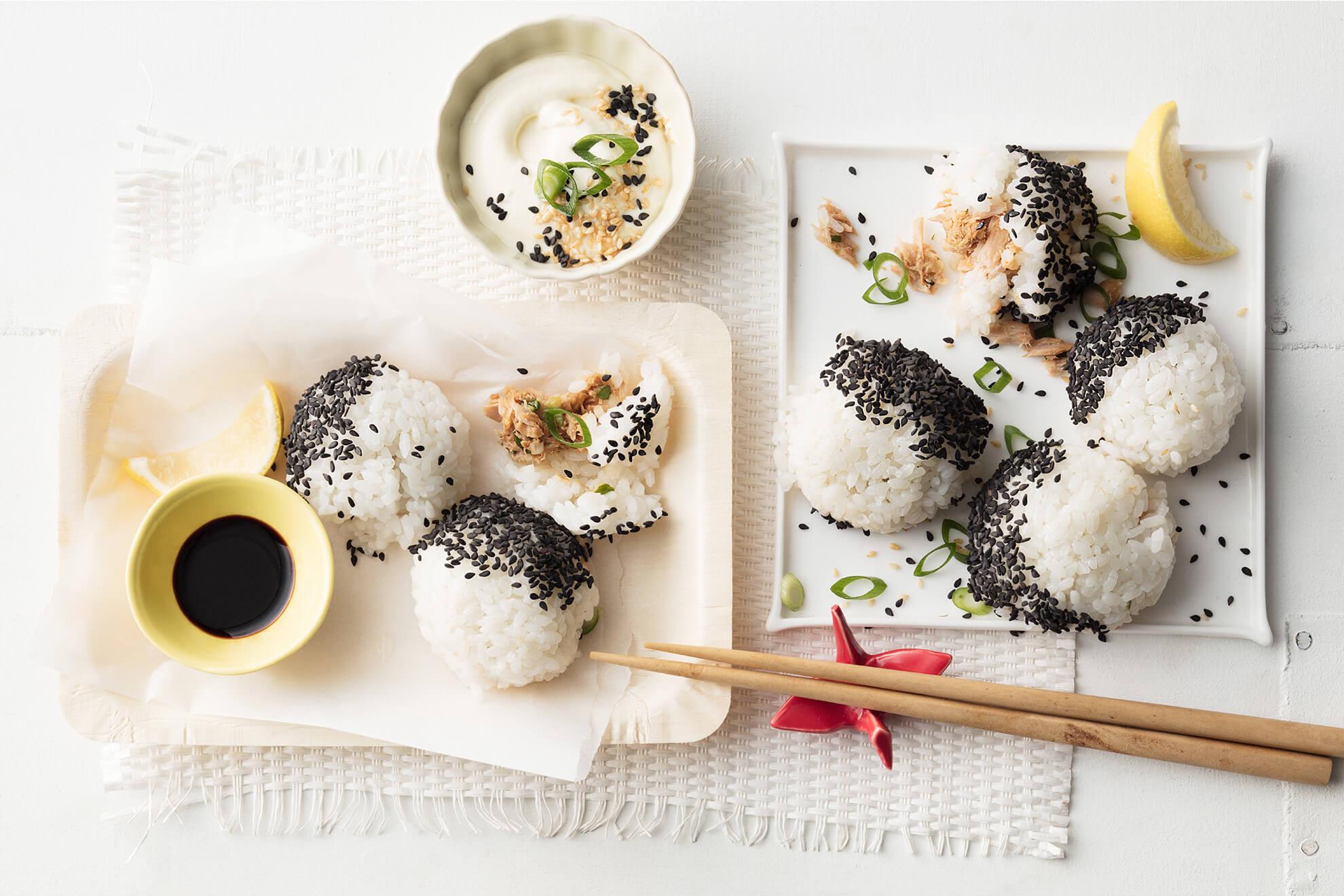 Japanese Sesame Balls with Sirena Tuna and Wasabi Mayonnaise Dip