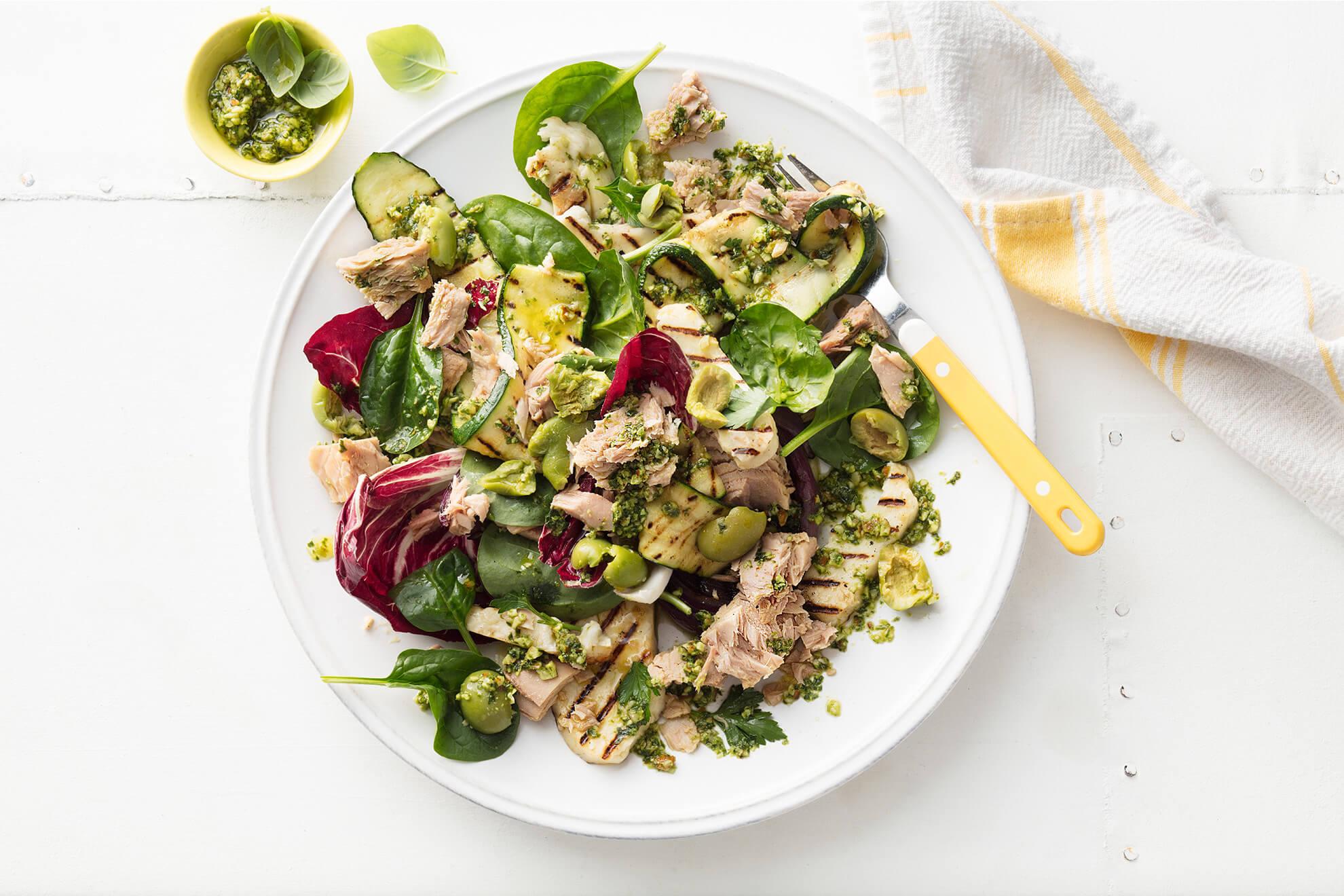 Sirena Tuna, Halloumi and Zucchini Salad with Chunky Pesto Dressing