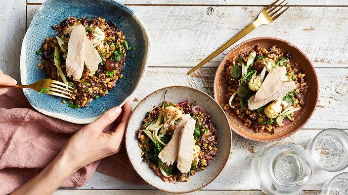 Sirena Tuna Grain Bowl with Caraway Cauliflower and Grapes