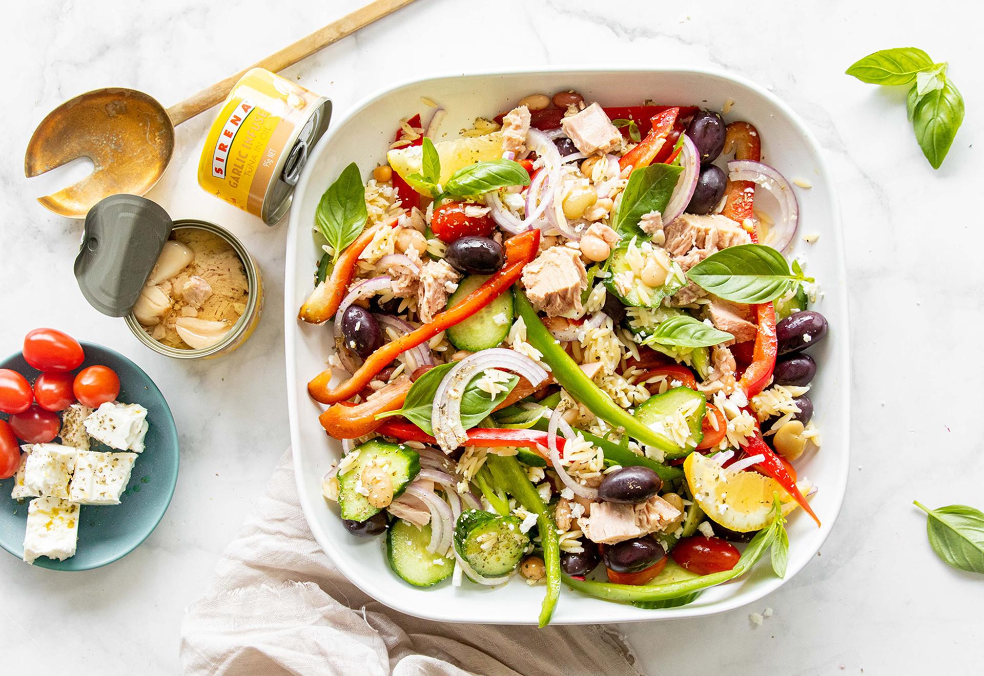 Leah Itsines' Greek Salad with Sirena Garlic Tuna & Risoni